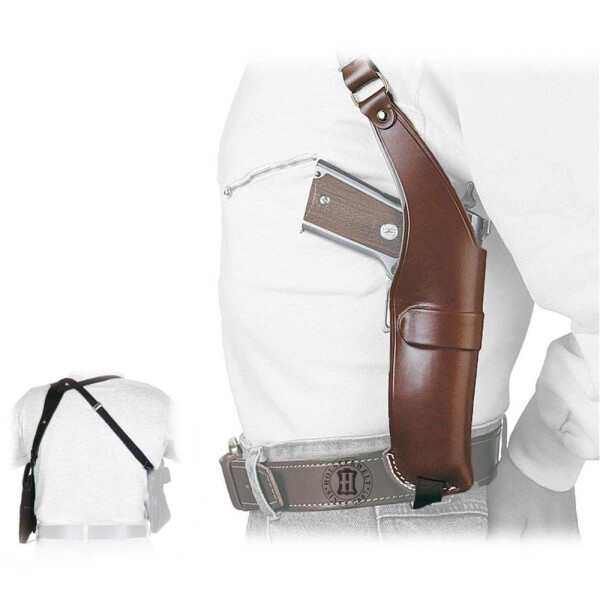 Leder Schulterholster NEW BREAK OUT Linkshänder Braun Glock 19/23,Walther P5/Comp.,M75 Comp.,Vector CP1